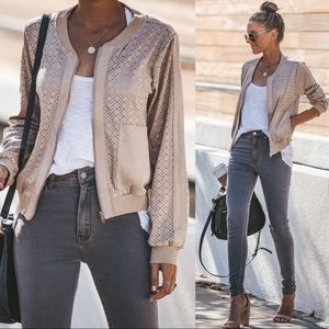 Lost Track of Time Faux Suede Laser Cut Bomber